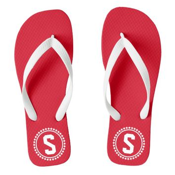 Red Super Star Monogrammed Flip Flops