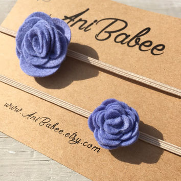 Mommy and Me felt flower headband set, Big Sister/ Little Sister Felt Headbands, baby headband set, Purple felt flower headband