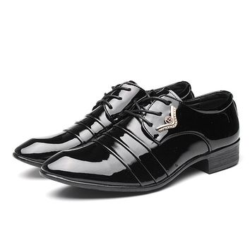 Patent Leather Business Oxfords Men Dress Shoes Lace-up Black Flats Fashion Party Wedding Shoes Career Flat Shoes Zapatos Male