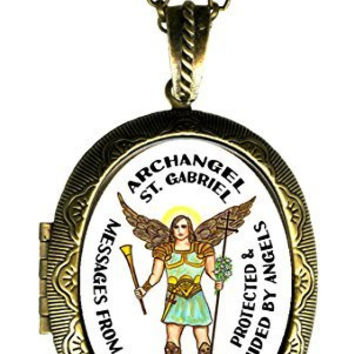 Archangel St Gabriel Messages From God Xl Solid Perfume Locket Pendant Gold Bronze