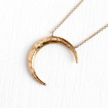 Antique Moon Necklace - Vintage 10k Rosy Yellow Gold Crescent Floral Brooch Conversion Pendant - 1900s Edwardian Celestial Fine Jewelry