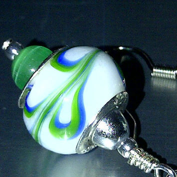 Green and Blue Swirl Earrings