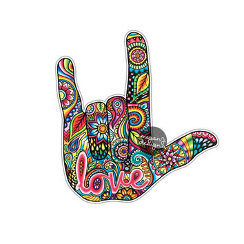 I Love You Sign Language Hand Sticker Decal Multicolor Car Decal Laptop Decal Wall Art Love ASL Hand Sign Cute Car Sticker Symbol Hippie