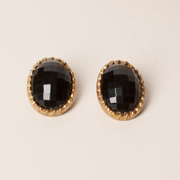 Vintage Faceted Black Clip Earrings