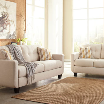 2 pc Drasco collection marble fabric upholstered sofa and love seat set with squared arms