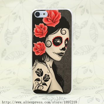 Gray Day Of The Dead Sugar Skull Girl Hard Transparent Cover Case for iphone 4 4s 5 5s 5C SE 6 6s Clear Cell Phone Cases