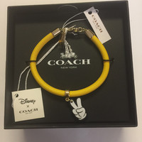 Disney X Coach Mickey Mouse Peace Glove Leather Charm Bracelet New with Box