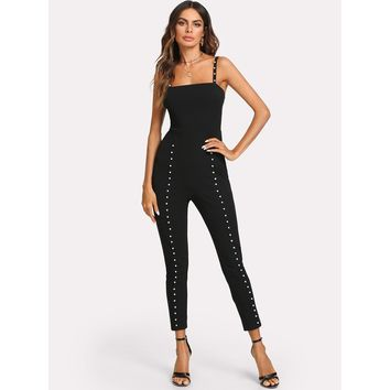 Pearl Beading Fitted Cami Jumpsuit