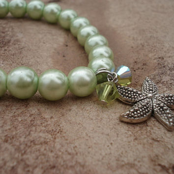 Starfish Charm Bracelet With Mint Green Pearls, Peridot Glass Charms