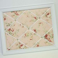 Durham Quilt Collection Pink Roses on Pink background Shabby Chic fabric Framed Memo Board