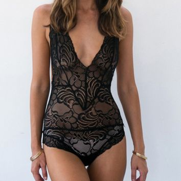 Hot sale fashion sexy lace hollow show thin V neck backless underwear one piece Black