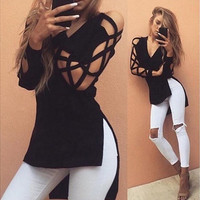 Women Blouse Deep V Cross Strap Long-sleeved Women Split T-shirt [6433095812]