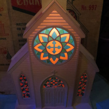"Vtg 1950s  BECO  originals Christmas ILLUMINATED 51""  GIANT Country Church Injection Blow Mold with  Box"