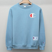 Champion New fashion embroidery logo couple long sleeve top sweater Blue