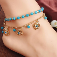 2Pcs Punk Boho Turquoise Beads Anklets Gold Plated Tassels Bracelet Womens Foot Chain Anklet Bracelet Foot Jewelry for women