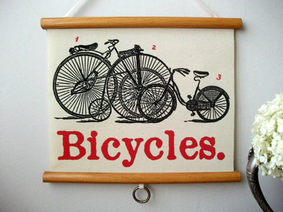 """Mini Vintage """"Pull Down"""" Educational Chart Style Wall Hanging Print on Fabric with Stained Wood Trim - Bicycles"""