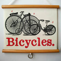 "Mini Vintage ""Pull Down"" Educational Chart Style Wall Hanging Print on Fabric with Stained Wood Trim - Bicycles"