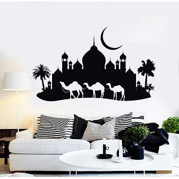 Vinyl Wall Decal Camels Mosque Palms Arabic Decor Stickers Unique Gift (ig4101)
