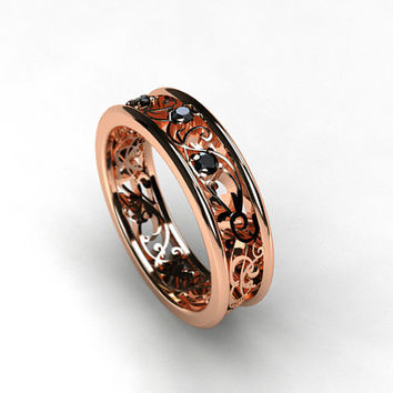 Rose gold filigree ring with black diamonds, rose gold engagement ring, filigree wedding ring, black wedding, unique, red gold ring, custom