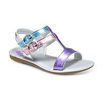 Stride Rite Girls' Aria T-Strap Sandals - Purple Metallic