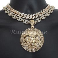 "Iced Out Anchor Medusa Pendant 16"" Iced Out Choker 18"" Puffed Gucci Chain Set 53"