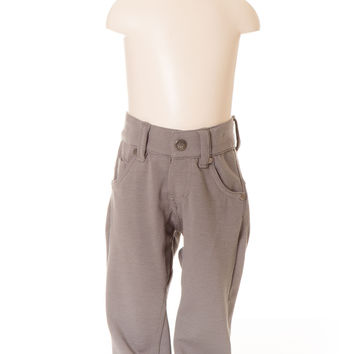 Deux Par Deux Petit Gentleman Boy's Castle Rock Grey Gray Canvas Stretch Pant Hipster Style Fall 2014