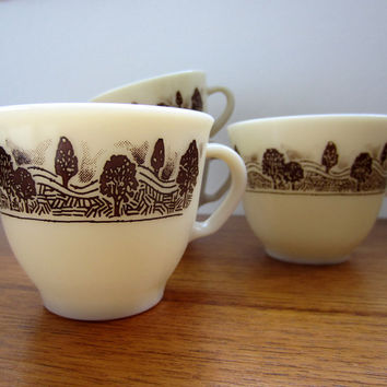 SALE Vintage Pyrex JAJ Cups, Set of 4 Mugs in the Rustic Pattern.