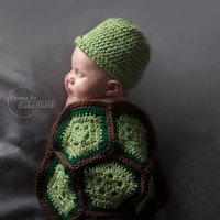Crocheted Yarn Newborn Photo Prop Turtle Shell and Hat Set Handmade by me