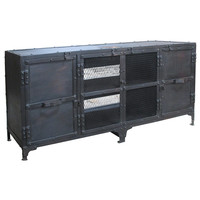 Joey Industrial Media Stand, Carbon Wash