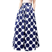 Blue Polka Dot High-Waist Maxi Skirt