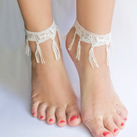 $28.00 Tigerlily Morrocan Fringe lace anklet single by thisilk on Etsy