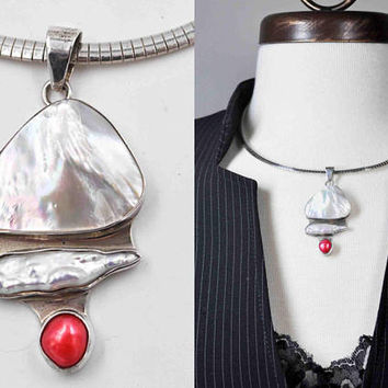 Vintage Modernist 950 Silver, MOP & Pearl Pendant Necklace, 925 Italy Omega Chain, Artisan, Handmade, Freeform, Unique, Fab! #c335
