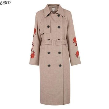 Khaki Wide Lapel Floral Embroidery Long Line Trench Coat Women Tied Waist Double Breasted Split Back High Street Outwear