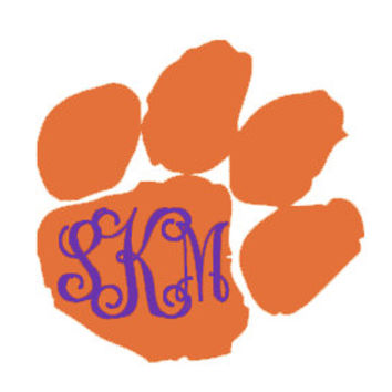 Tiger Paw Monogrammed Decal