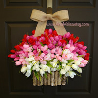 spring wreath summer wreath Valentine's Day front door wreaths decorations red pink tulips spring wreath