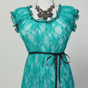 Size Large Teal Lace Blouse - Fits Bust Measurement of 46 to 52 inches