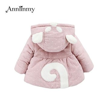 new 2018 winter baby girl jacket polka dot infantil clothes cartoon kids coat cotton warm toddler jacket for 0~2age newborn coat
