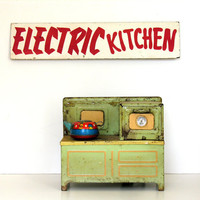 Electric Kitchen Vintage Sign Red & White Signage