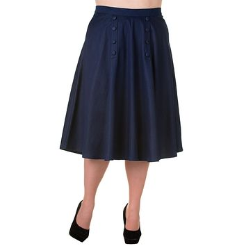 Vintage Style High Waist Denim Double Button Panel A Line Midi Skirt
