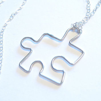 Puzzle Piece Charm Pendant Sterling Silver Necklace 20 inch chain