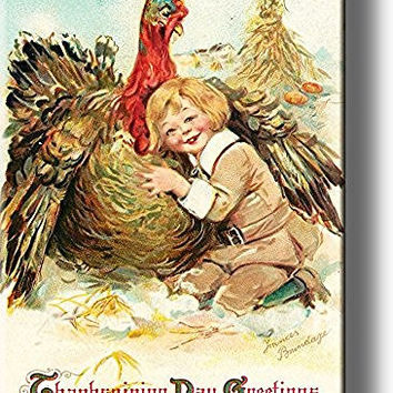 Boy Hugging Thanksgiving Turkey by Brundage, Picture on Stretched Canvas Wall Art Decor, Ready to Hang!