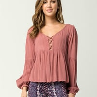 PATRONS OF PEACE Criss Cross Womens Peplum Top