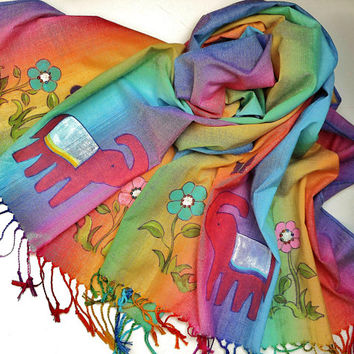Colorful Painted Boho Indian Elephant Pashmina Scarf Bohemian Womens Scarves FREE SHIPPING