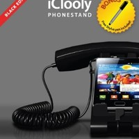 iClooly Phone Handset and Sync Stand for iPhone 4S, 4, 3GS, 3G, and Other Wireless Phones with 3.5 mm Headphone, Black