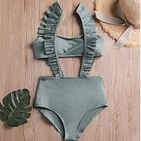 Fashion New Solid Color Straps Lotus Leaf Side Swimsuit Two Piece Bikini Green