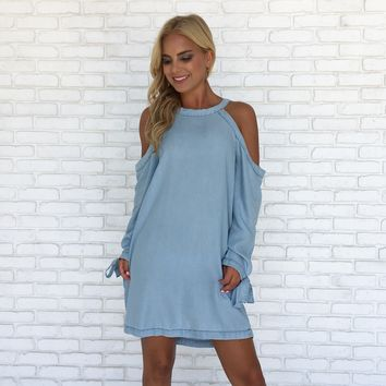 Along for the Ride Shift Dress in Light Blue