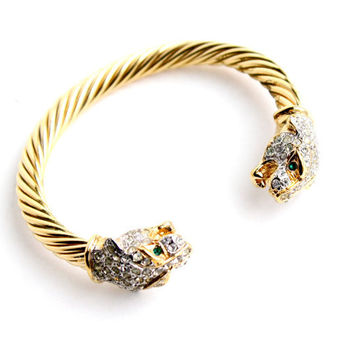 Vintage Wild Cat Rhinestone Bracelet -  Gold Tone Leopard Head Costume Jewelry Cuff / Fierce