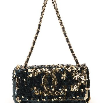 CHANEL Coco mark sequined shoulder bag leather Navy Gold Black