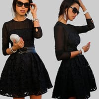Slim Pure Color Lace Floral Long Sleeve Short Dress