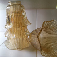 Gold glass hobnail light sconces, shades, fixtures, light covers, set of 4 fluted glass amber, Free US Shipping